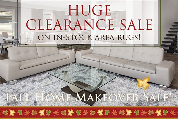 Fall Home Makeover Sale Going On Now! Huge clearance sale on in-stock area rugs! Only at Abbey Carpet & Floor in Watertown, New York!